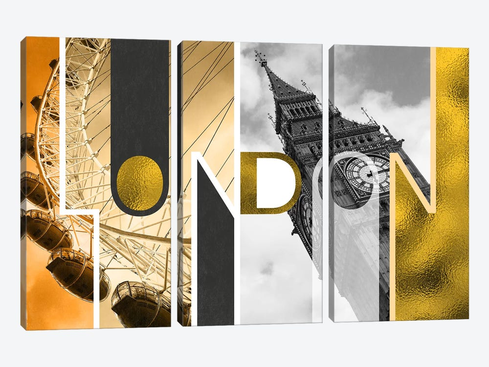 The Capital of Two Sectors Gold Edition - London by 5by5collective 3-piece Canvas Art