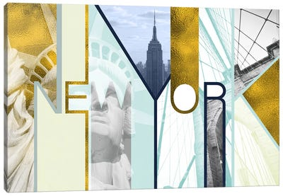 The Urban Jungle of Architectural Delights Gold Edition - New York Canvas Art Print
