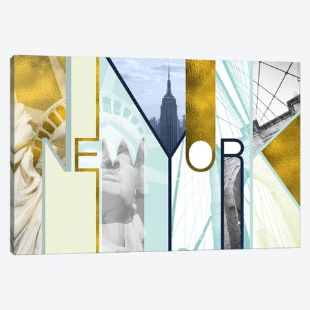 The Urban Jungle of Architectural Delights Gold Edition - New York Canvas Print #ITT15} by 5by5collective Canvas Art