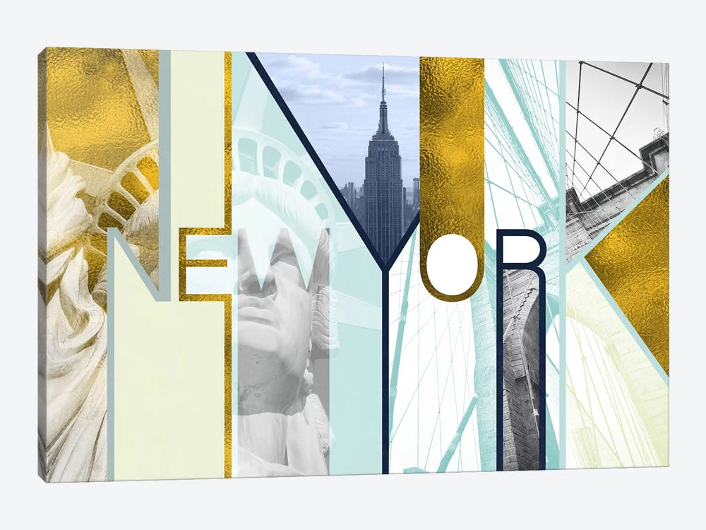 The Urban Jungle of Architectural Delights Gold Edition - New York by 5by5collective 1-piece Canvas Print