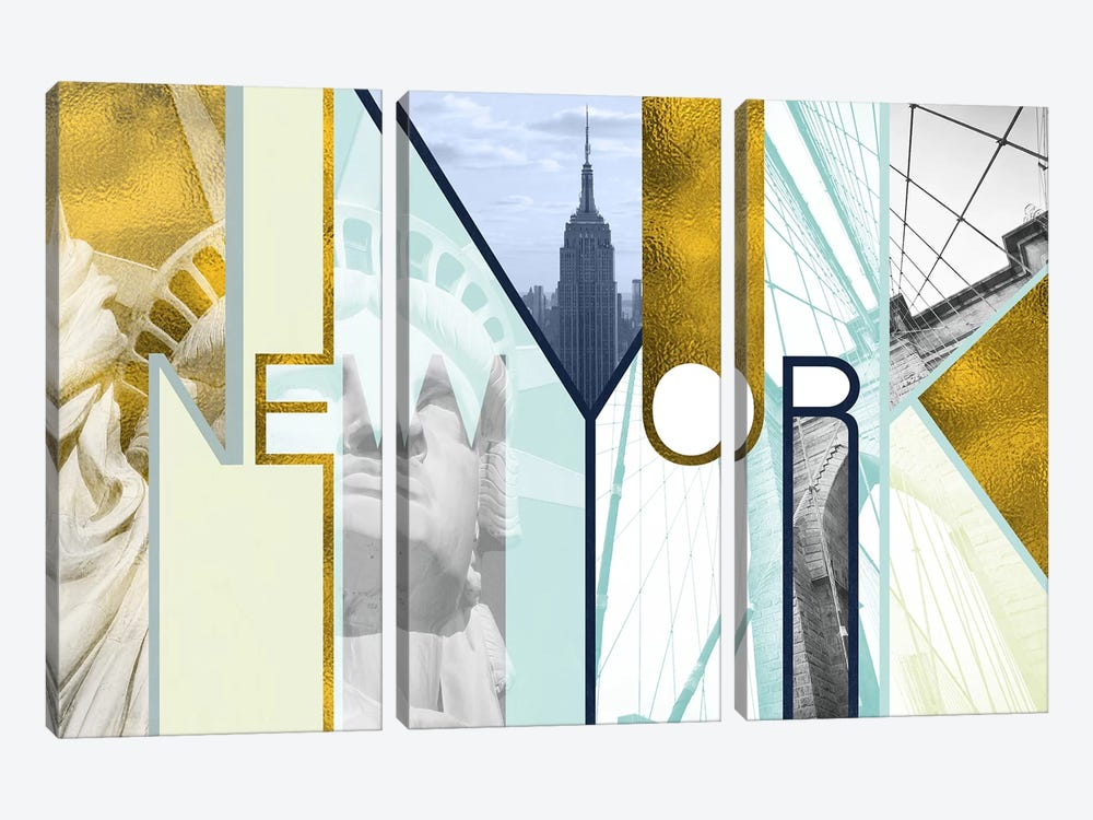 The Urban Jungle of Architectural Delights Gold Edition - New York by 5by5collective 3-piece Canvas Print
