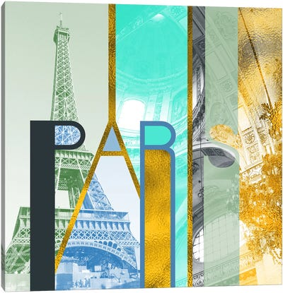 The Fariy City of Inspiration Gold Edition - Paris Canvas Art Print