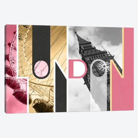 The Capital of Two Sectors Pink - London Canvas Print #ITT3} by 5by5collective Canvas Artwork