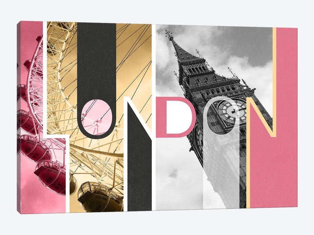 The Capital of Two Sectors Pink - London by 5by5collective 1-piece Canvas Art Print