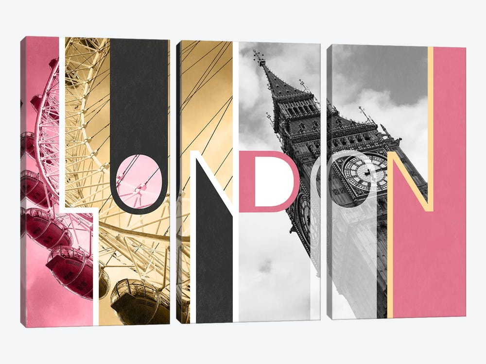 The Capital of Two Sectors Pink - London by 5by5collective 3-piece Canvas Art Print