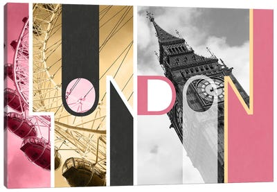 The Capital of Two Sectors Pink - London Canvas Art Print