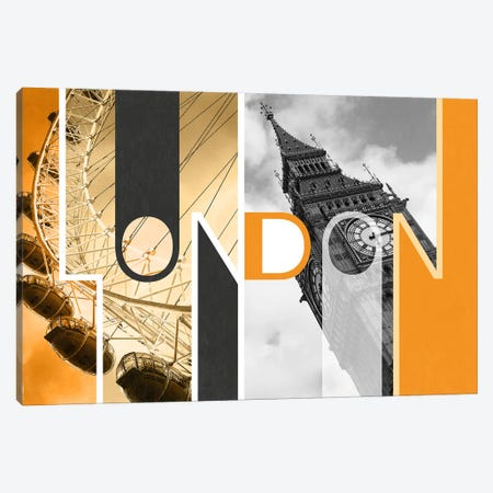 The Capital of Two Sectors Orange - London Canvas Print #ITT4} by 5by5collective Canvas Art Print