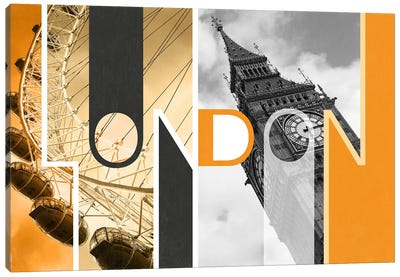 The Capital of Two Sectors Orange - London Canvas Art Print