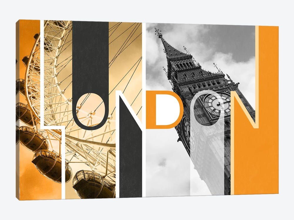 The Capital of Two Sectors Orange - London by 5by5collective 1-piece Canvas Art