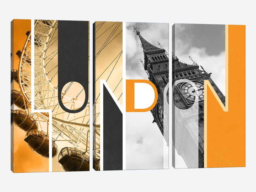 The Capital of Two Sectors Orange - London by 5by5collective 3-piece Canvas Wall Art