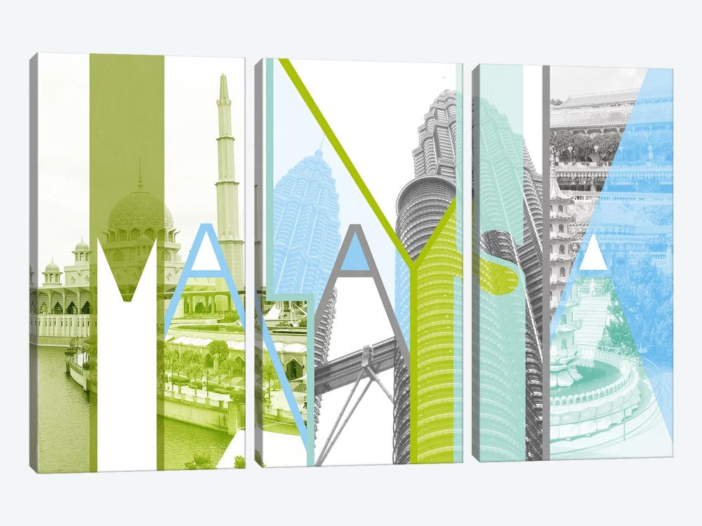 Kingdom of Unity - Malaysia by 5by5collective 3-piece Canvas Art Print