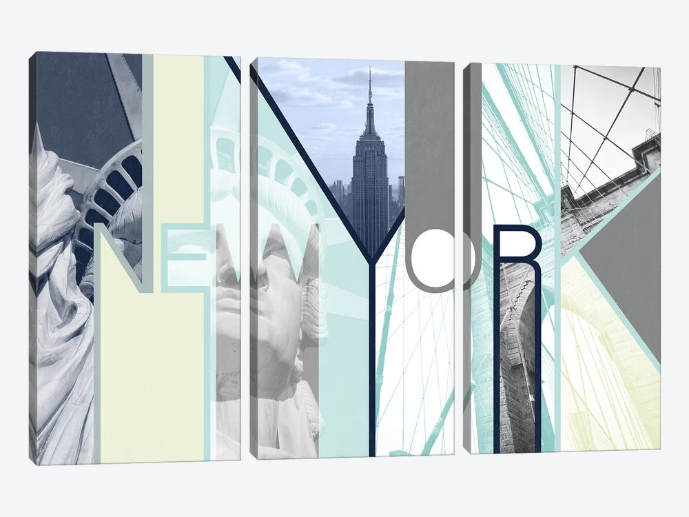 The Urban Jungle of Architectural Delights - New York by 5by5collective 3-piece Canvas Art