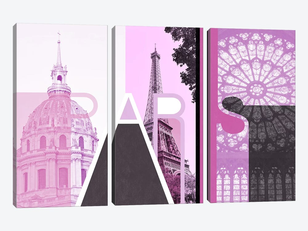 The Fairy City of Love - Paris by 5by5collective 3-piece Canvas Print