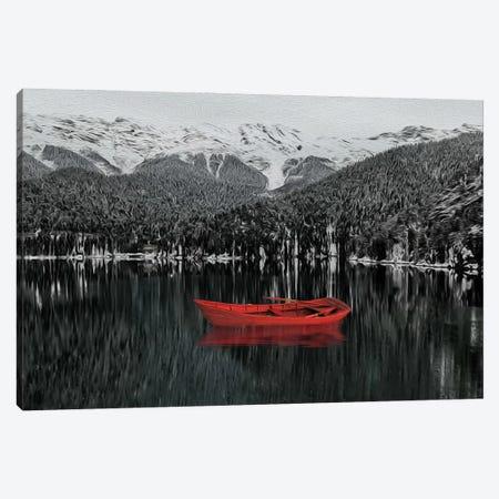 Red Boat Canvas Print #IVG111} by Ievgeniia Bidiuk Canvas Art