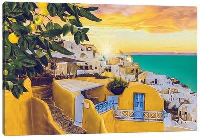 Santorini At Sunset Canvas Art Print