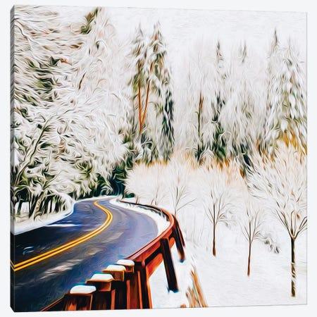 Mountain Winter Trail Between Trees Canvas Print #IVG248} by Ievgeniia Bidiuk Canvas Art