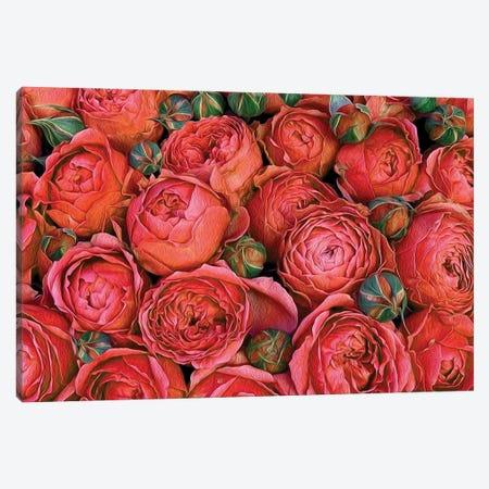 Orange Roses With Buds Canvas Print #IVG251} by Ievgeniia Bidiuk Canvas Art Print