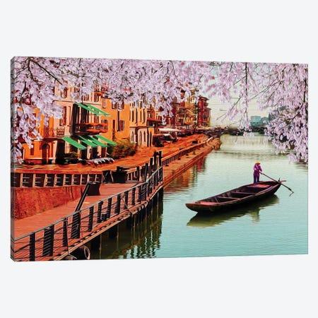 Blooming Sakura Against The Background Of The Japanese Village Canvas Print #IVG314} by Ievgeniia Bidiuk Art Print