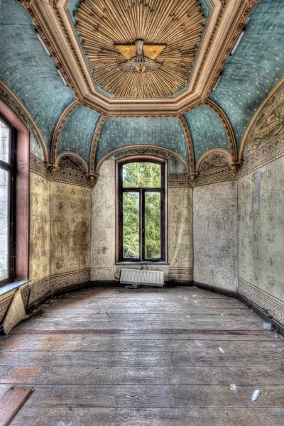 Chateau rochendaal I Wedge Frame Picture Canvas Interior lost places IVO sneeuw