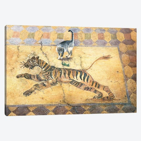 Cat With Lizard And Tiger Canvas Print #IVR10} by Ivory cats Canvas Wall Art