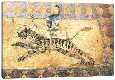 Cat With Lizard And Tiger Canvas Art Print