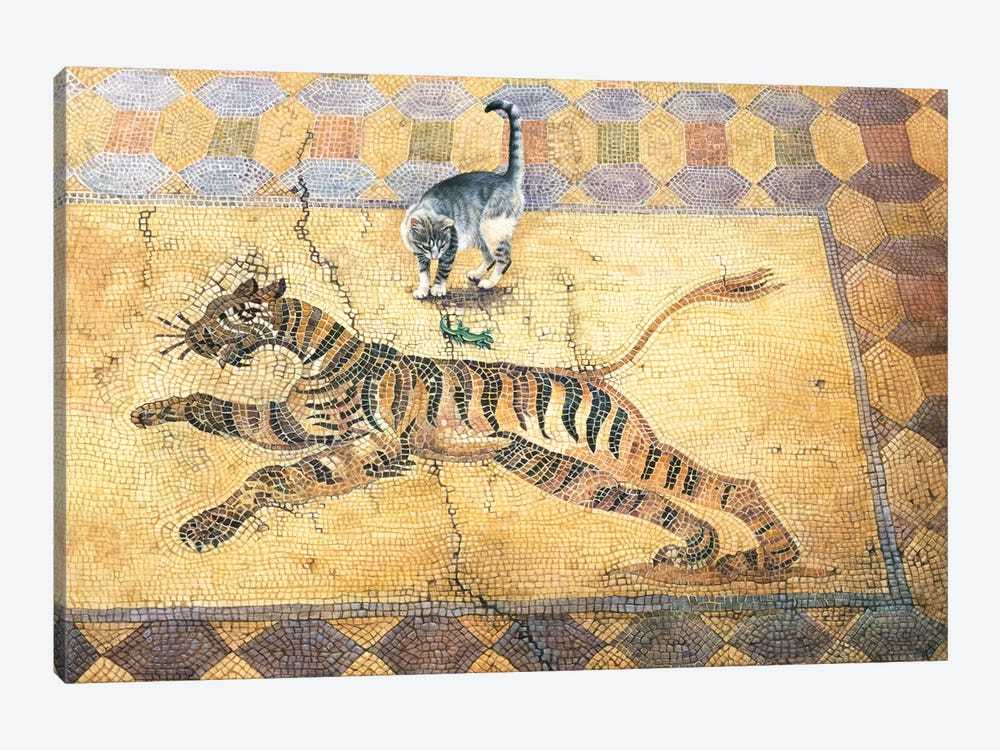 Cat With Lizard And Tiger by Ivory Cats 1-piece Canvas Art