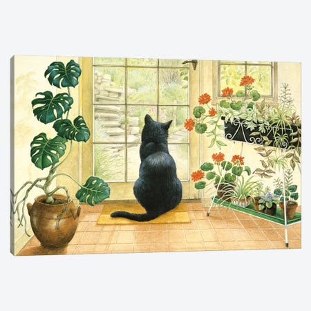 Chesterton At The Back Door Canvas Print #IVR11} by Ivory Cats Canvas Wall Art