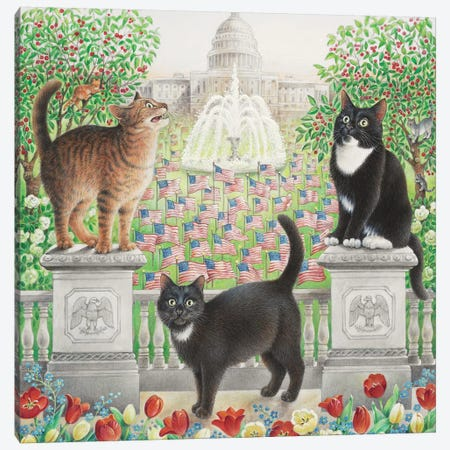 Flag Day With Emu Gabby And Puff Canvas Print #IVR14} by Ivory Cats Canvas Art Print