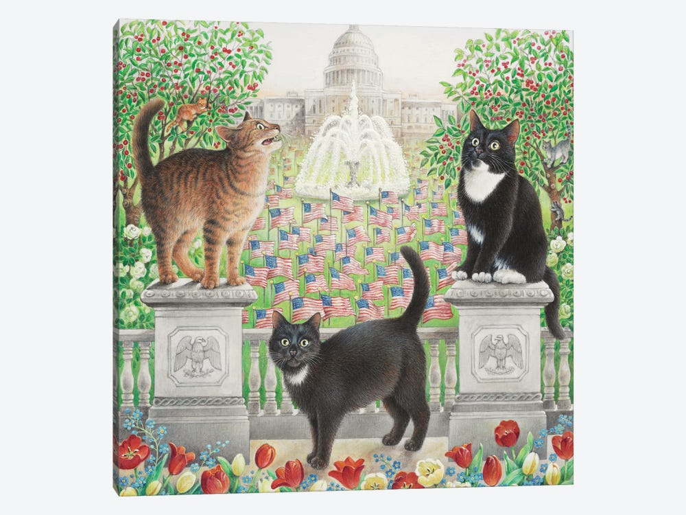 Flag Day With Emu Gabby And Puff by Ivory Cats 1-piece Canvas Artwork
