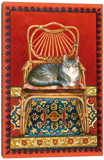Gemma On Cane Chair Canvas Art Print