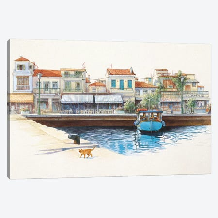 Greek Cat By The Harbour Canvas Print #IVR18} by Ivory Cats Canvas Artwork