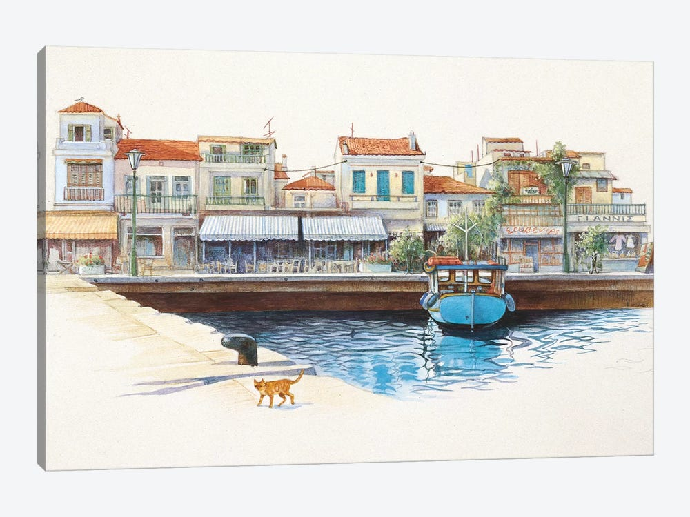 Greek Cat By The Harbour by Ivory Cats 1-piece Canvas Art