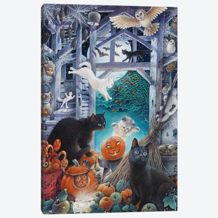 Halloween With Lesley's Cats Canvas Print #IVR19} by Ivory Cats Canvas Wall Art