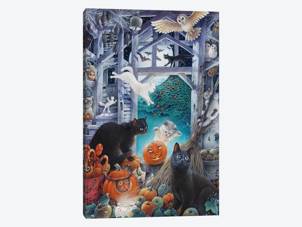 Halloween With Lesley's Cats by Ivory Cats 1-piece Art Print