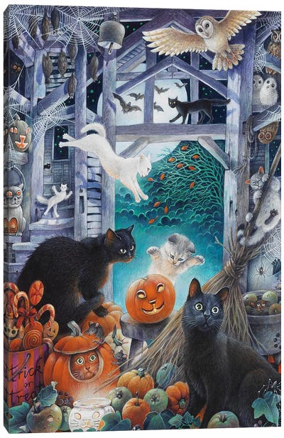 Halloween With Lesley's Cats Canvas Art Print