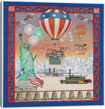 July 4th With Lesley's Cats Canvas Art Print
