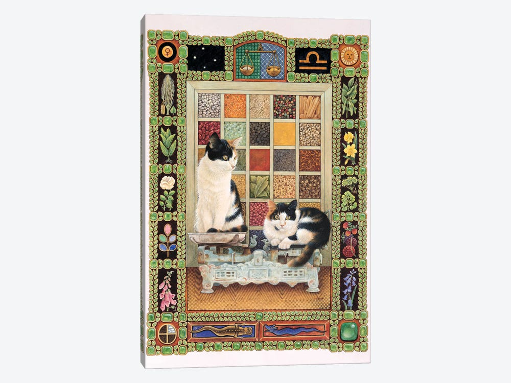 Libra - Clea And Lily by Ivory Cats 1-piece Canvas Art