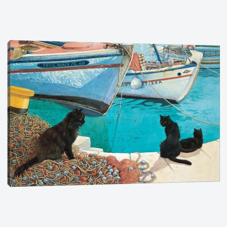 Looking At The Fish Canvas Print #IVR24} by Ivory Cats Canvas Artwork