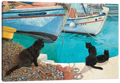 Looking At The Fish Canvas Art Print