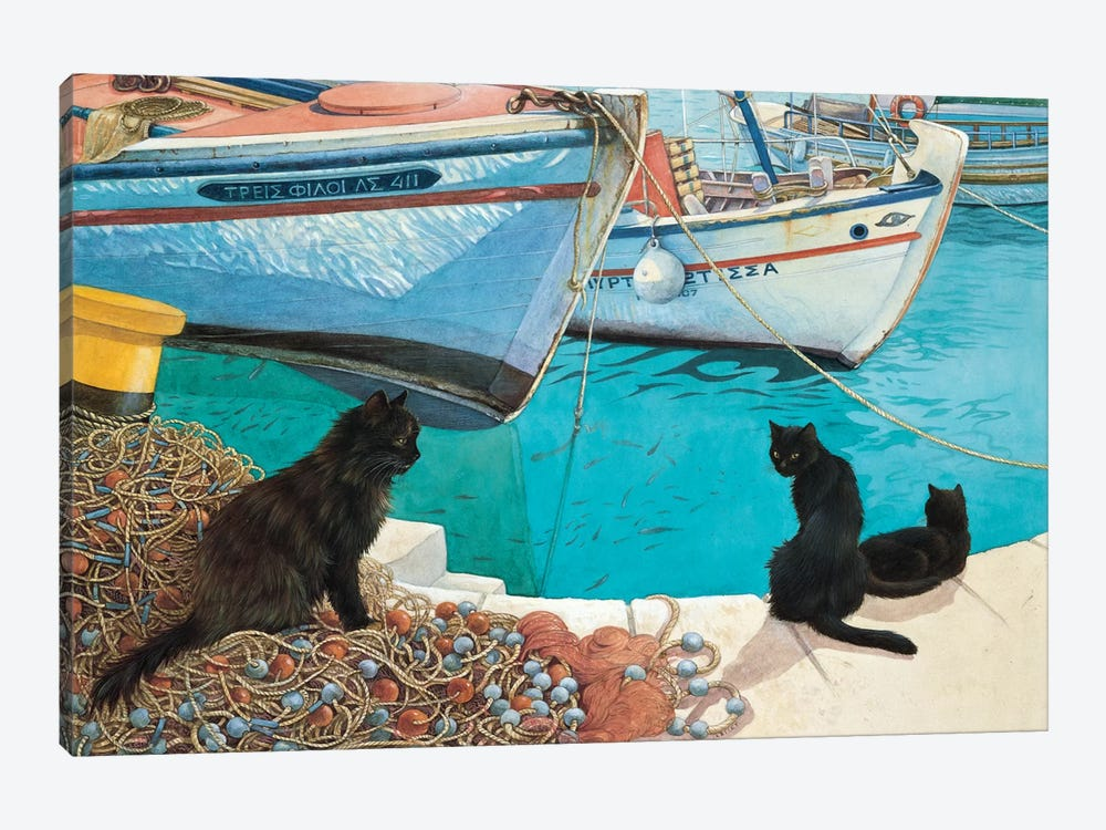 Looking At The Fish by Ivory Cats 1-piece Canvas Art Print