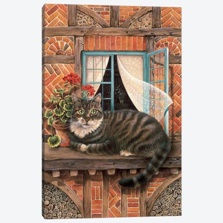 Malteazer At The Window Canvas Print #IVR25} by Ivory Cats Canvas Wall Art