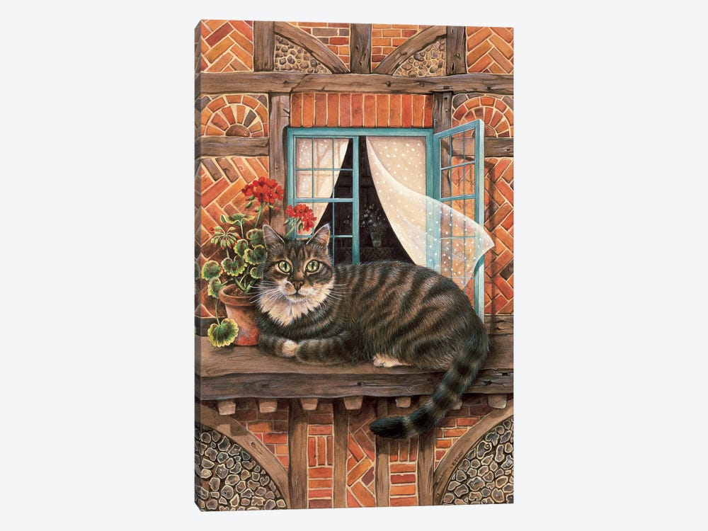 Malteazer At The Window by Ivory Cats 1-piece Canvas Wall Art