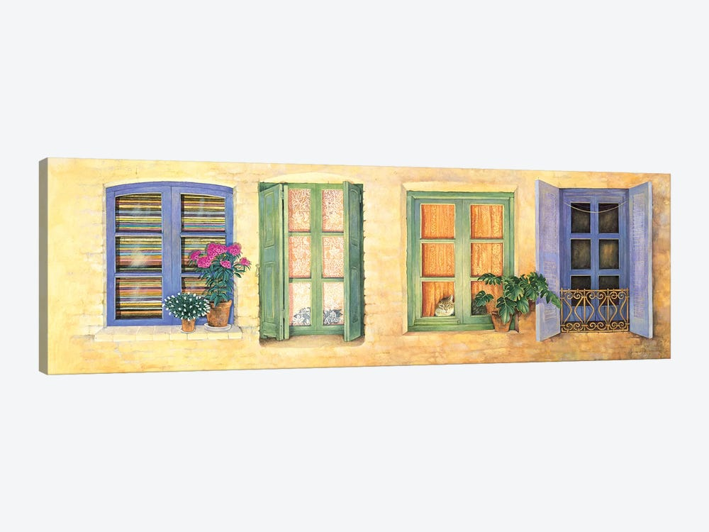 Mediterranean Windows by Ivory Cats 1-piece Art Print