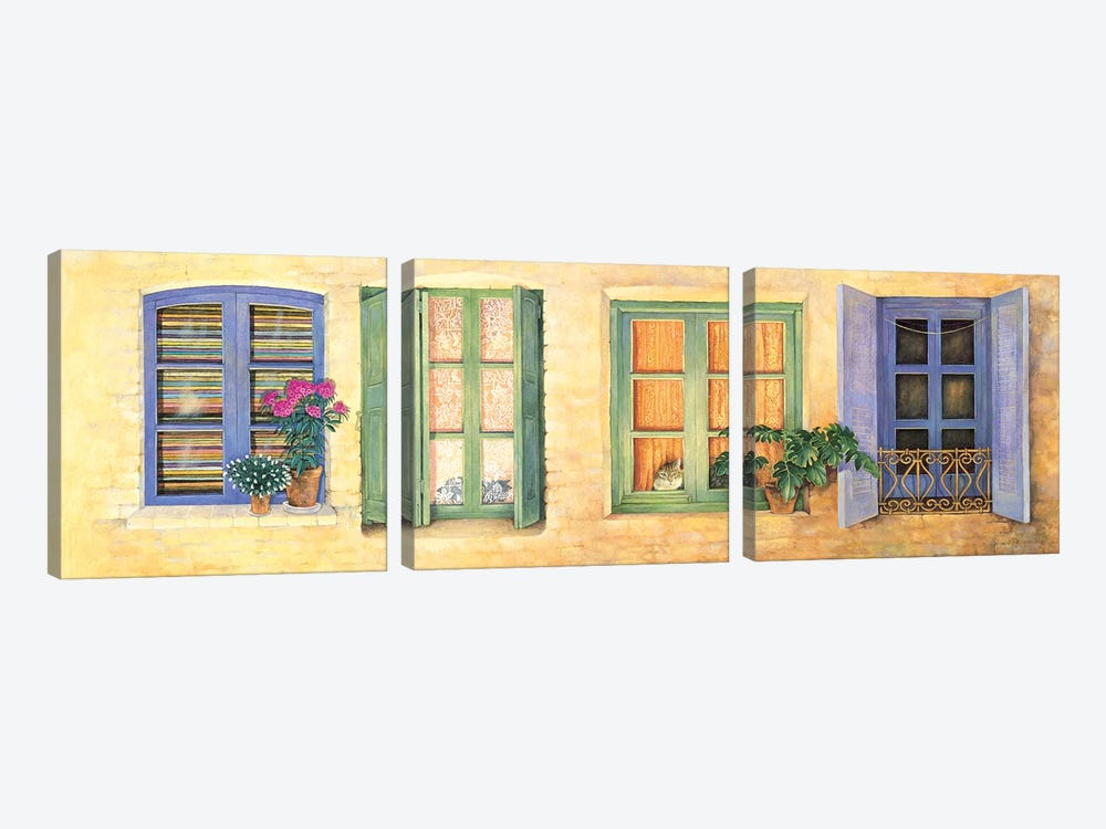 Mediterranean Windows by Ivory Cats 3-piece Art Print