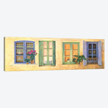 Mediterranean Windows 3-Piece Canvas #IVR26} by Ivory Cats Canvas Wall Art
