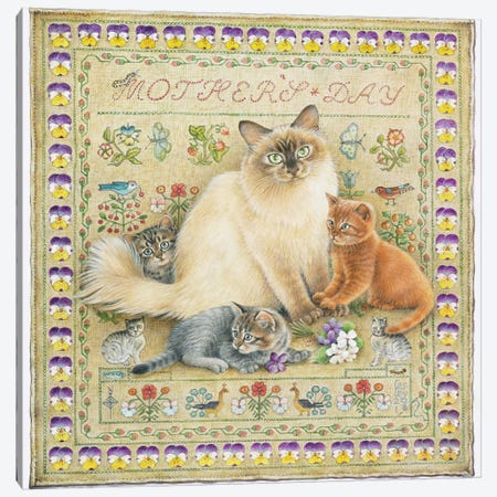 Mother's Day With Odette And Her Kittens 3-Piece Canvas #IVR29} by Ivory Cats Canvas Art Print