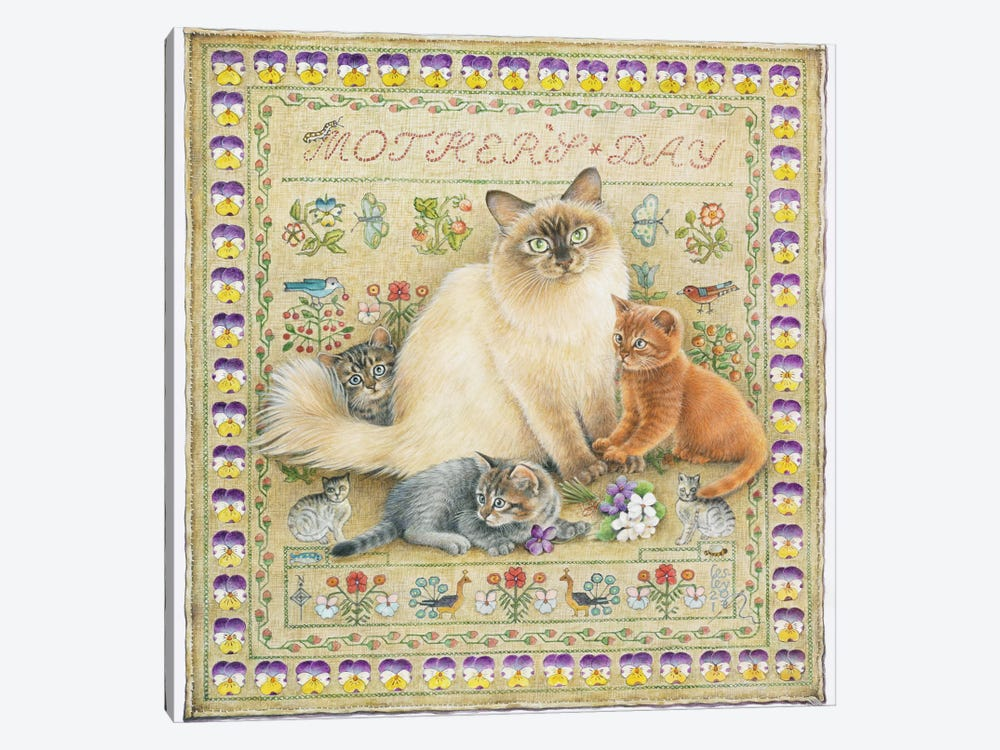 Mother's Day With Odette And Her Kittens by Ivory Cats 1-piece Canvas Wall Art