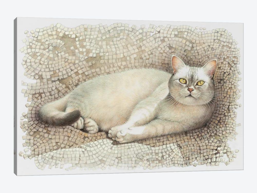 Mumu Resting On Sun Warmed Mosaic by Ivory Cats 1-piece Canvas Art