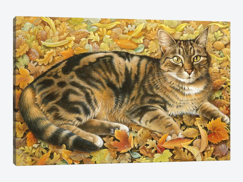 Octopussy In Autumn Leaves by Ivory Cats 1-piece Art Print