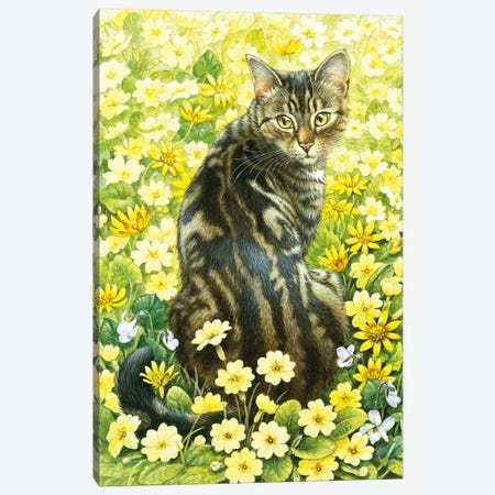 Octopussy In Spring Flowers Canvas Print #IVR38} by Ivory cats Canvas Wall Art